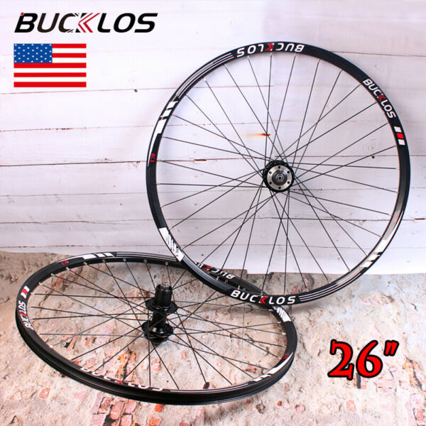 BUCKLOS 26 inch Mountain Bike Wheelset 8 10 Speed Disc Brake QR Front Rear Wheel $169.99