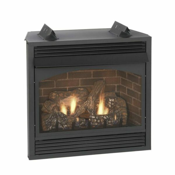 Empire Vent Free Fireplace 24quot; 10000 Btu IP Black Frame and Louvers Remote