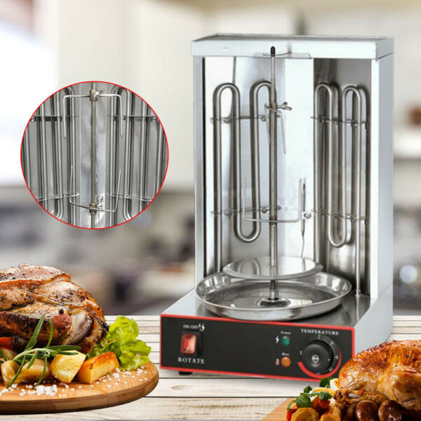 Shawarma Kebab Machine Stainless Grill Vertical Rotating Rotisserie Oven Sliver