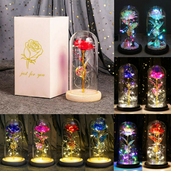 Beauty and the Beast LED Galaxy Light Rose in Glass Dome Lover Mother#x27;s Day Gift $25.45