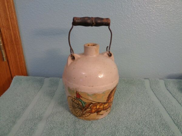SMALL ANTIQUE CROCK WHISKEY JUG WOODEN WIRE HANDLE WITH HORSE BUGGEY APPLIED