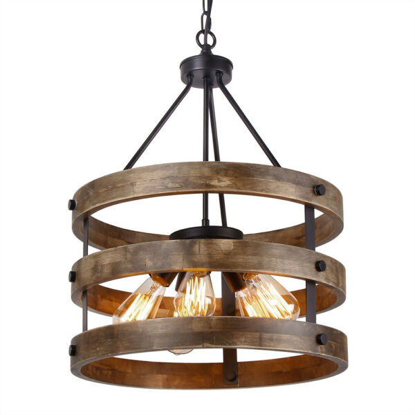 Metal and Circular Wood Chandelier Pendant Lighting Fixture Retro Ceiling Lamp