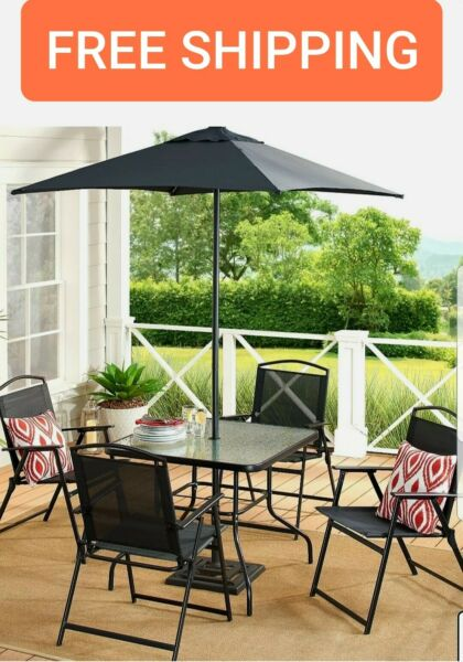 Patio Dining Set Outdoor Furniture Backyard Table 4 Chairs Umbrella BLACK NEW $196.97