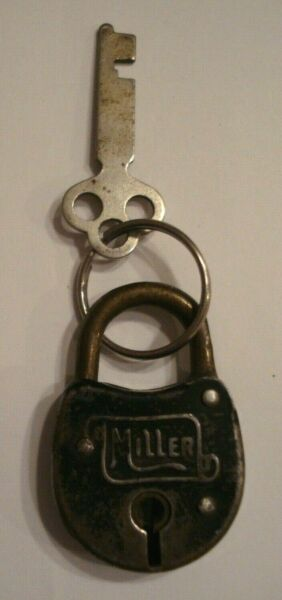 Small Antique Miller Steel Lock with Key