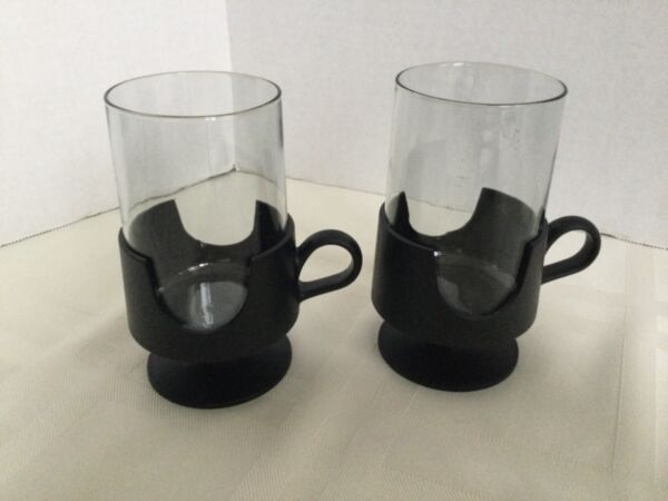 Vtg Glas Snap by Corning Hot Cold Smoked Glass Drinkware a Pair