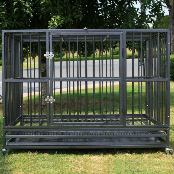 48quot; Heavy Duty Strong Metal Pet Dog Cage Crate Kannel Playpen w Wheelsamp;Tray