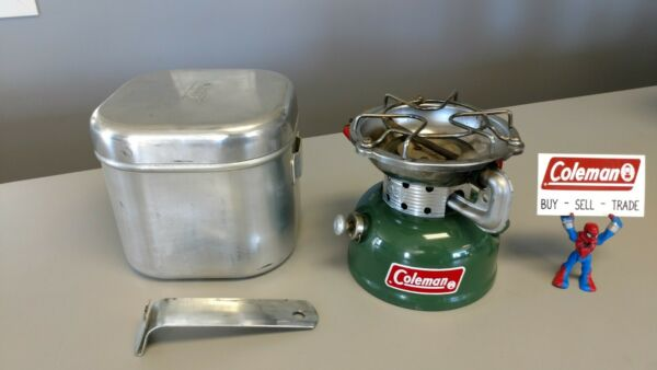 Coleman Stove 502 With Cook Kit. Nice. 10 1973 nice original decal