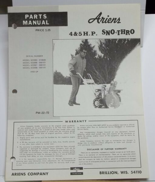 Vintage Ariens Parts Manual model 4 amp; 5 HP Sno Thro manual # 22 72 snow blower