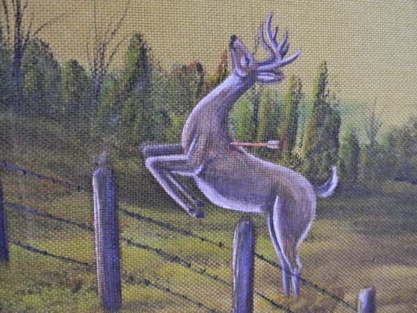 Oil Painting On Cloth Deer Buck Hunting Rustic Vintage Artist Signed Bow Hunting