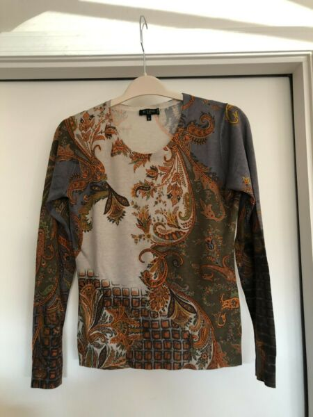 Etro Milano Gray Brown Orange Silk Cashmere Paisley Sweater Top Size 44 $89.99
