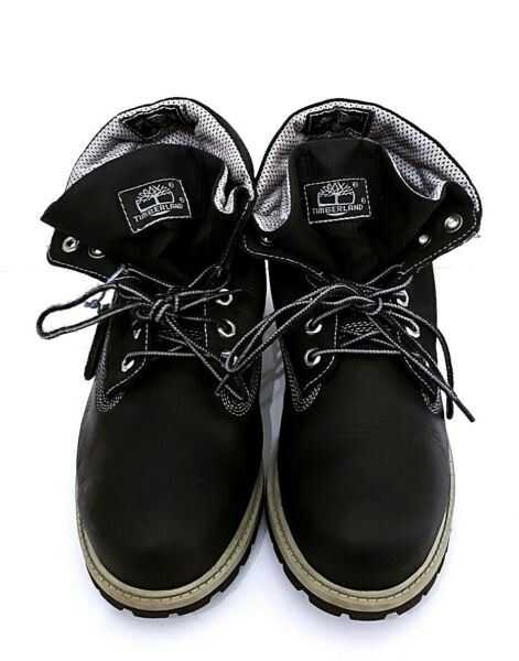 TIMBERLAND Fold over Black Waterproof Boots Ripstop Nylon Leather MEN SIZE 5.5 $33.85