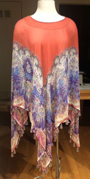 STUNNING ETRO SHEER PRINT SILK GEORGETTE PONCHO BLOUSE TOP WITH FRINGE ONE SIZE $149.99