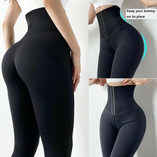 Tummy Control Waist Cincher Corset Leggings Women Cycling Shorts High Waist Pant