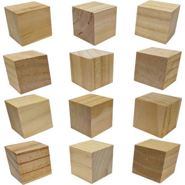 12 Pack Unfinished Birch Wood Blocks 2 Inch Natural Wooden Cubes with Smooth...