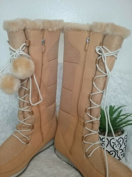 Timberland Womens Boots Nordic Groove Khaki Tan Winter Suede Tall Fur 6 $38.21