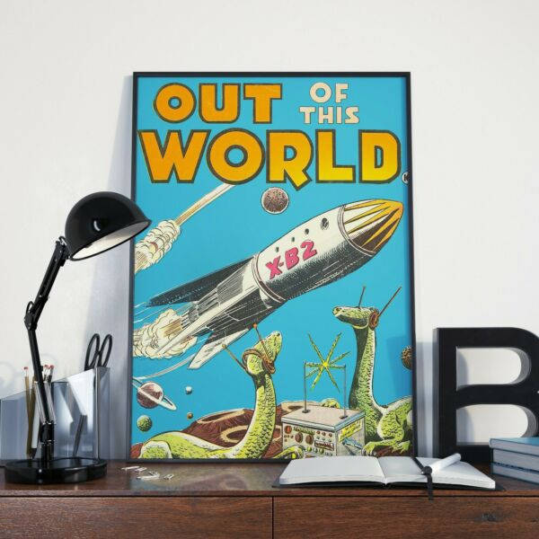 Spaceship and Dinosaurs Wearing Head Vintage Poster Fantasy Poster Poster Print $17.99