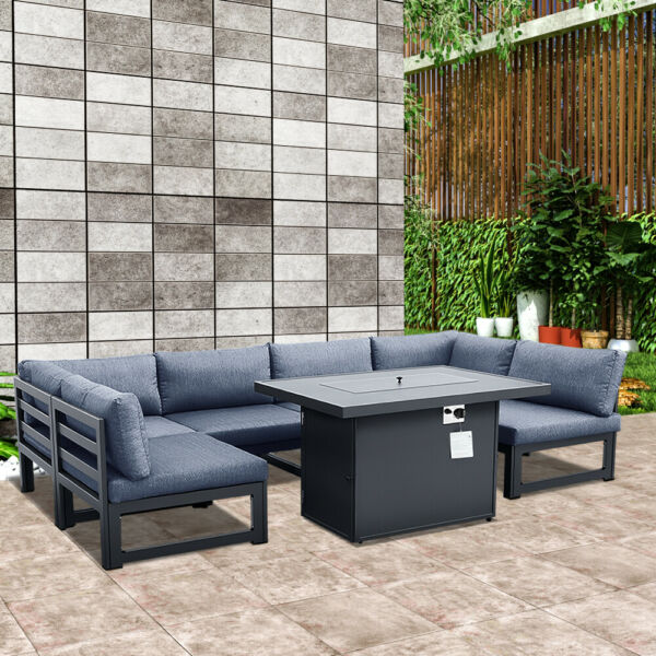 Outdoor Patio Furniture Sets Aluminum Conversation Sofa Set With Gray Cushion $279.00