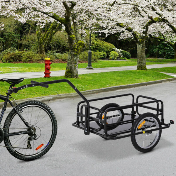 Folding Bicycle Bike Cargo Storage Cart and Luggage Trailer with Hitch Black $165.31