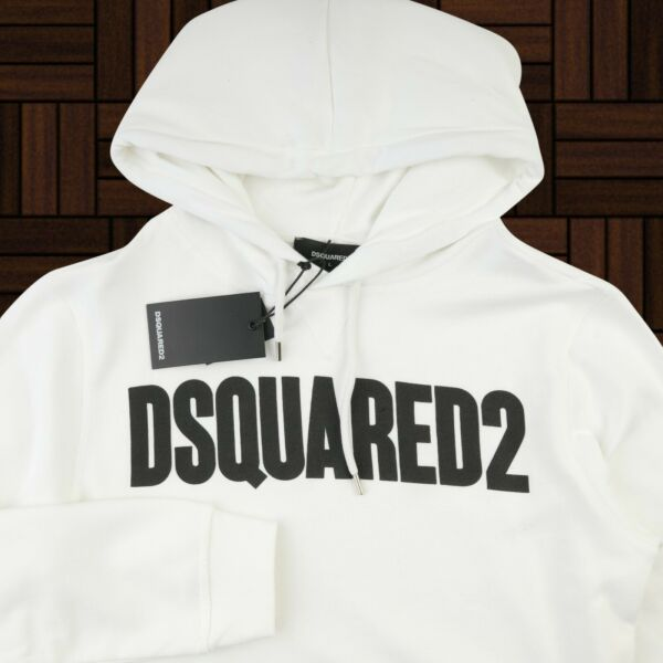 DSQUARED 2 HOODIE Sweater Jumper White Logo Print Size S New MEN $65.00