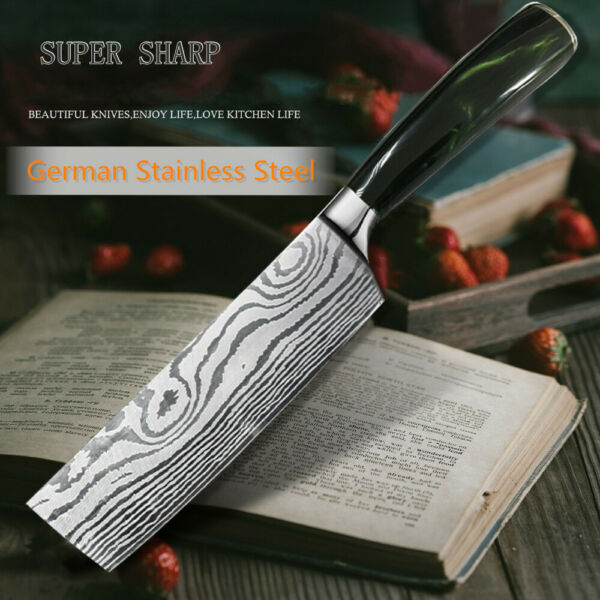 Cleaver Nakiri Knife 7quot; German High Carbon Stainless Kitchen Knife Green Handle
