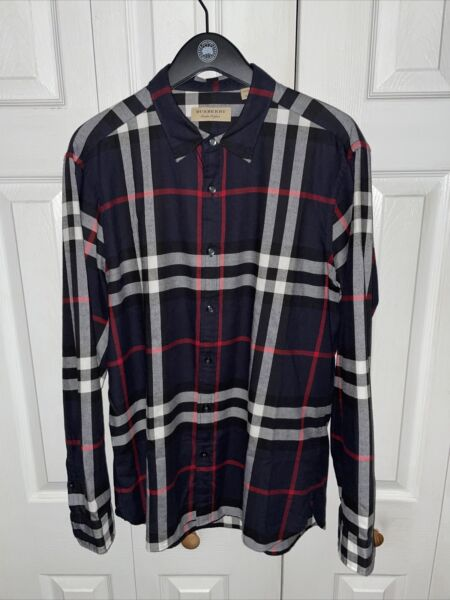 Mens Burberry Navy Blue Flannel Check NWOT SIze XL $59.99