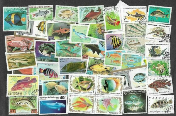 Fish 100 all different stamps collection marine life GBP 3.75