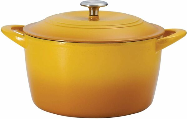 7 Qt Enameled Cast Iron Covered Tall Round Dutch Oven Sunrise