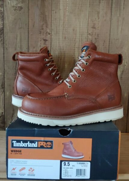 Timberland PRO Mens 6quot; Wedge Sole Moc Toe Work Boots Size 9.5 Wide Rust 53009 $98.00