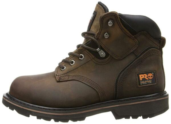 Timberland Mens Pit Boss 6quot; Leather Soft toe Lace Up Safety Shoes Brown Size $38.90