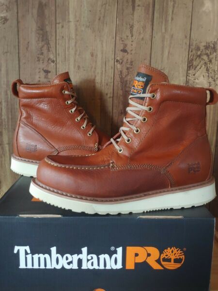 Timberland PRO Mens 6quot; Wedge Sole Moc Toe Work Boots Size 13 Rust 53009 $98.00