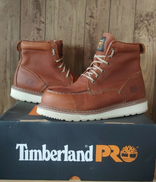 Timberland PRO Mens 6quot; Wedge Sole Moc Toe Work Boots Size 9.5 M Rust 53009 $94.00