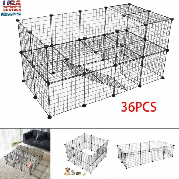 36 Panel Metal Tall Dog Playpen Large Crate Fence Pet Cat Play Pen Exercise Cage