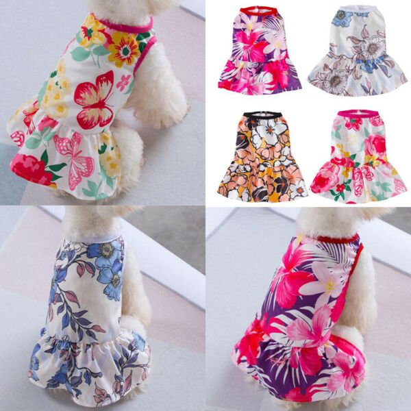 Cute Flower Pet Tutu Dress For Dogs Cats Summer Puppy Princess Small Dog Clothes C $5.91
