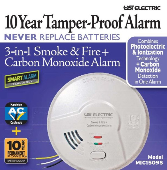 USI electric MIC1509S 3 in 1 Smoke amp; Fire Carbon Monoxide Detector $27.50