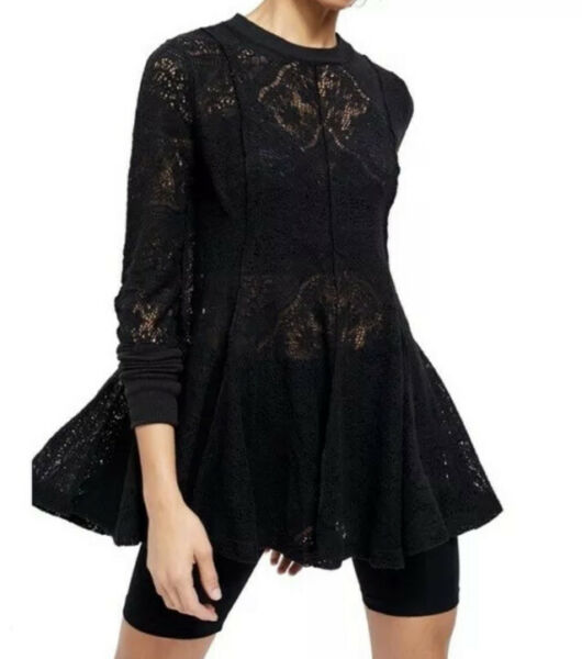 Free People Coffee in the Morning Tunic Top Black Size XS Lace Sheer NWT.