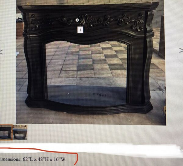 ANTIQUE CARVED WOOD FIREPLACE MANTEL SURROUND ORNATE $850.00