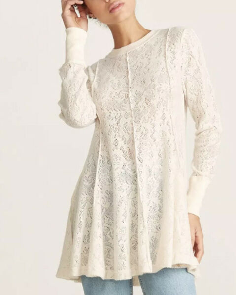 Free People Coffee in the Morning Tunic Top Cream Size S Small Lace Sheer NWT.