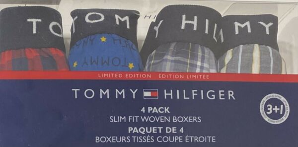 Tommy Hilfiger 4 Slim Fit Woven Boxers Large 36 38 Assorted Grays Blue Red $34.99