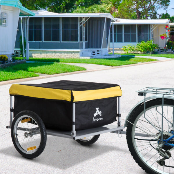 New Aosom Bicycle Bike Cargo Trailer Cart Carrier Shopping Yellow and Black $137.81