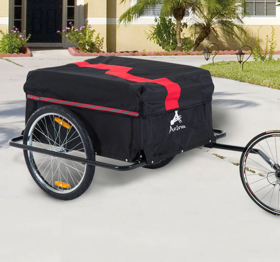 New Aosom Bicycle Bike Cargo Trailer Cart Carrier Runner Shopping Storage Red $164.93
