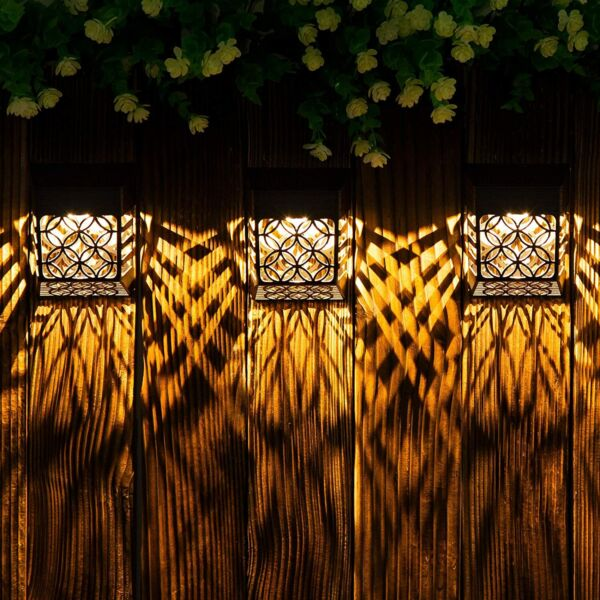 2 4 8Solar LED Light Wall Light Outdoor Hollow Out Garden Yard Outdoor Door Lamp
