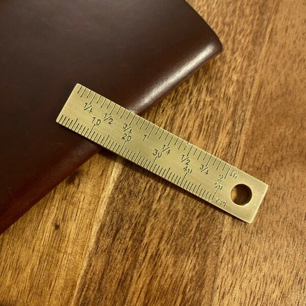 Small Brass Ruler Keychain Solid Thick Brass 2 inch Ruler Mini Metal Ruler