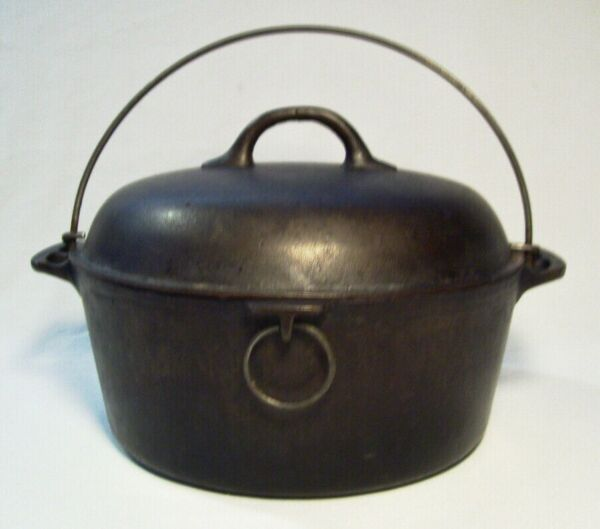 FAVORITE PIQUA WARE Early Cast Iron 4.5 Qt DUTCH OVEN w Wire Bail Handle USA