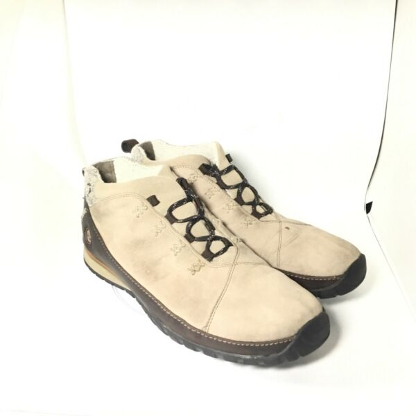 Timberland Hiking Outdoor Boots Beige Suede Ankle Lace Up Wool Lined 12M $54.99