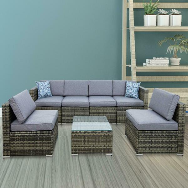 7 Pcs Patio Sofa Set PE Rattan Outdoor Furniture Sectional Conversation Sofas $699.99