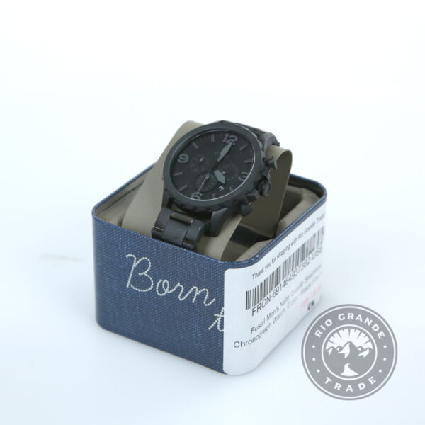 USED Fossil Nate Quartz Chronograph Watch in Black Stainless Stainless Steel