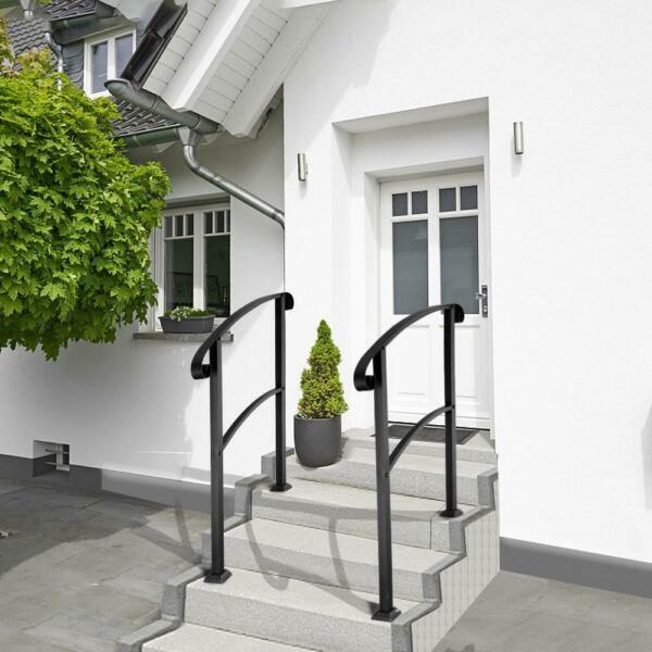 Wrought Iron Handrail Arch Fits 1 or 3 Steps Outdoor Hand Rail