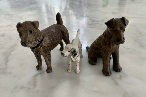 Vintage Miniature Metal Dogs Lot Of 3 Terriers amp; Setter $21.00
