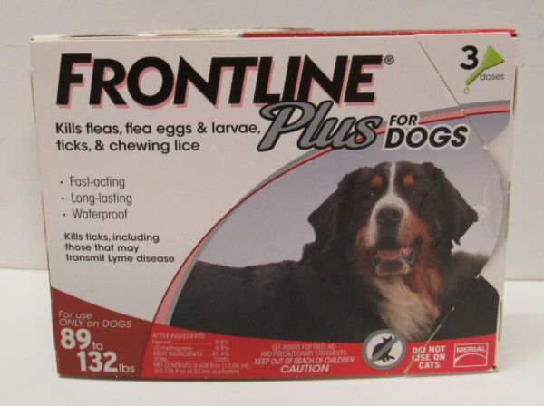 Frontline Plus Dog Flea and Tick XL Dog Treatment 89 to 132 lbs 3 Doses $28.00