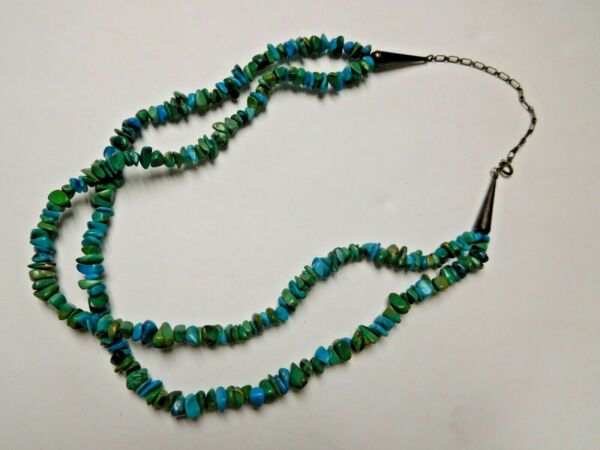 Vintage Double Stand Turquoise Malachite Stone Bead Sterling Silver Necklace $75.00